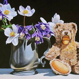 Teddy bear still life by Lillian  Bell