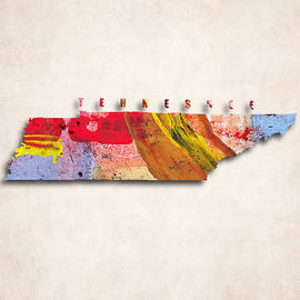 World Art Prints And Designs - Tennessee Map Art - Painted Map of Tennessee