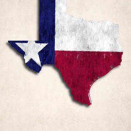 World Art Prints And Designs - Texas Map Art with Flag Design