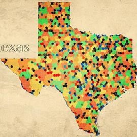 Design Turnpike - Texas Map Crystalized Counties on Worn Canvas by Design Turnpike