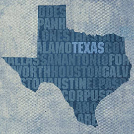Texas Word Art State Map on Canvas by Design Turnpike