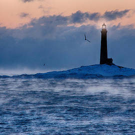 Thacher Island lighthouse seagull passes by Jeff Folger