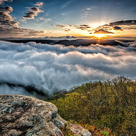 Michael Bowen - The golden hour above the clouds on top of a mountain in West Virginia during sunrise.