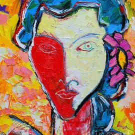 The Red Half Expressionist Girl Portrait  by Ana Maria Edulescu