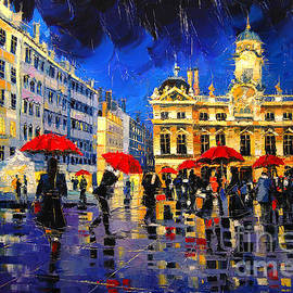 Mona Edulesco - The Red Umbrellas Of Lyon