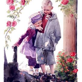 Greta Corens - Watercolor of a Boy and Girl in their Secret Garden