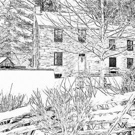 Stone House At The Oliver Miller Homestead In Winter - 2 by Digital Photographic Arts