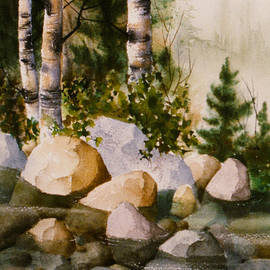 Teresa Ascone - Three Birch by Rocky Stream