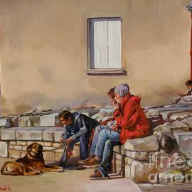 Dominique Amendola - Three Men With A dog