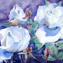 Greta Corens - White Roses with Red Buds on blue field