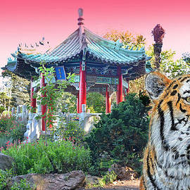 Tiger by a Chinese Pagoda by Jim Fitzpatrick