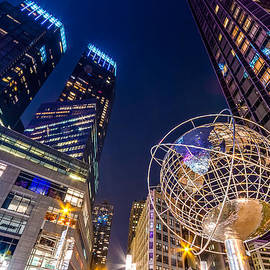 Time Warner And Trump Towers At Night by Val Black Russian Tourchin