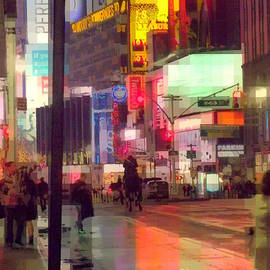 Times Square with Runaway Horse by Miriam Danar