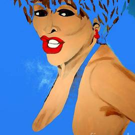 Tina Turner Fierce Blue 2 by Saundra Myles