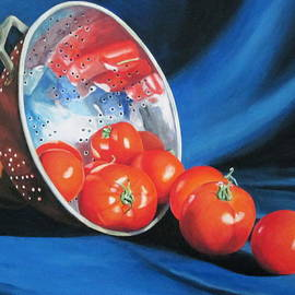 Lillian  Bell - Tomatoes in copper colander