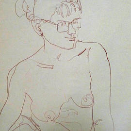 Topless gal wearing  glasses by Joan  Jones