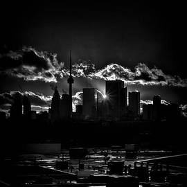 Brian Carson - Toronto Canada Skyline At Sunset From The Pape St Bridge