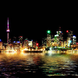 Brian Carson - Toronto Skyline At Night From Polson St Reflection