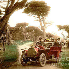 Royal Tourist Touring car on the 17 Mile Drive Pebble Beach California circa 1910 by California Views Archives Mr Pat Hathaway Archives