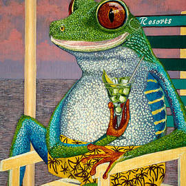 Manuel Lopez - Tourist tree frog oil painting 10x12in on liner canvas panel