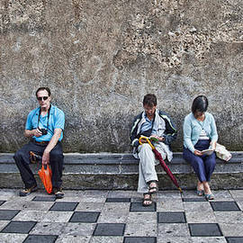 Tourists On Bench 2 - Taormina - Sicily by Madeline Ellis