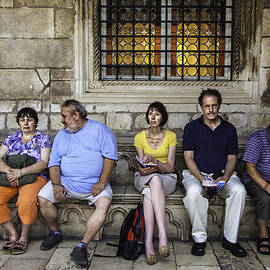 Tourists On Bench - Dubrovnik, Croatia by Madeline Ellis