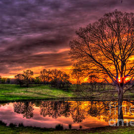 Only From Heaven Sunrise Reflections Upon A Farm Pond Art by Reid Callaway