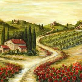 Marilyn Dunlap - Tuscan road With Poppies