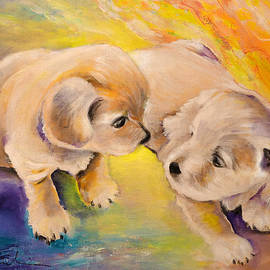 Two Puppies by Miki De Goodaboom