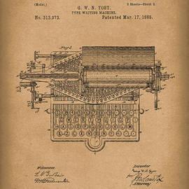 Type Writer 1885 Patent Art Brown by Prior Art Design