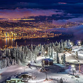 Vancouver City Panorama From Grouse Mountain  by Pierre Leclerc Photography
