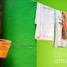 Vase towels and green wall by Silvia Ganora