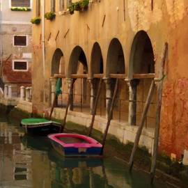 Venice Boats On Canal by Robyn Saunders