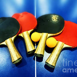 Vibrant Ping-pong Bats Table Tennis Paddles Rackets On Blue by Beverly Claire Kaiya