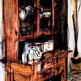 Vintage Artsy Kitchen Cupboard by Liane Wright