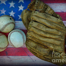 Paul Ward - Vintage Baseball Glove and Baseballs on American Flag