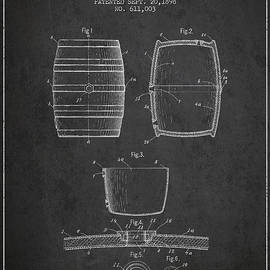 Vintage Beer Keg Patent Drawing From 1898 - Dark by Aged Pixel