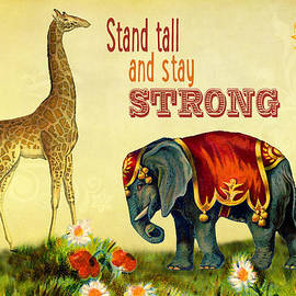 Vintage Inspirational Giraffe and Elephant