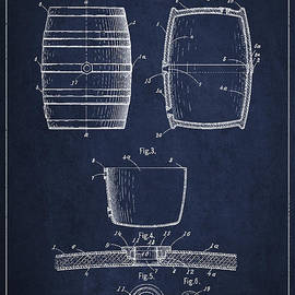 Vintage Keg or Barrel Patent Drawing from 1898 - Navy Blue by Aged Pixel