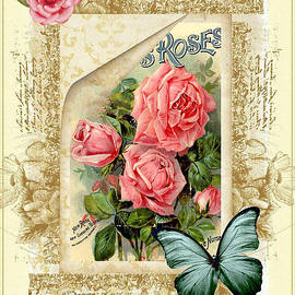 Vintage Look Roses And Butterfly by DMiller
