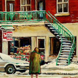 Vintage Montreal Art Verdun Depanneur Winter Scene Paintings Staircases And 7up Signs Carole Spandau by Carole Spandau