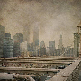 Joann Vitali - Vintage Old New York City Skyline with Twin Towers and Brooklyn Bridge