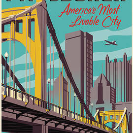 Pittsburgh Poster - Vintage Travel Bridges by Jim Zahniser