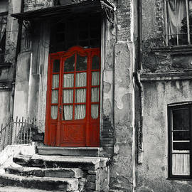 Vlad Baciu - Vintage Wooden Red Door And Damaged Stone Stair