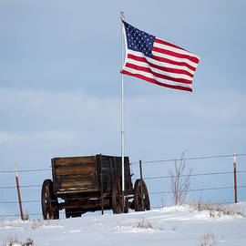Wagon And Flag by Michael Chatt