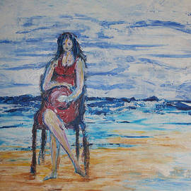 Waiting On The Beach by Kathy Peltomaa Lewis