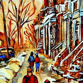 Walking The Dog By Balconville Winter Street Scenes Art Of Montreal City Paintings Carole Spandau by Carole Spandau