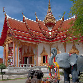 Wat Chalong Wiharn And Elephant Tribute Dthp045 by Gerry Gantt
