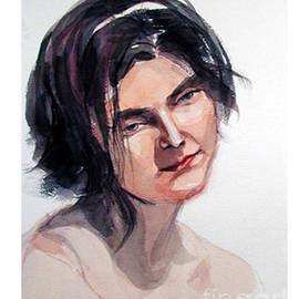 Greta Corens - Watercolor portrait of a young pensive woman with headband