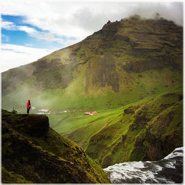 Waterfall and mountain in Iceland